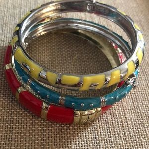 Jewelry - Lot of 3 colorful red yellow blue bangle bracelet